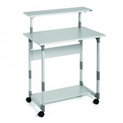 Pc Workstation System 80 VH - 80x56,4x92/122 cm - 3 ripiani - con ruote - grigio - Durable