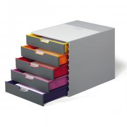 Cassettiera Varicolor® - 28x35,6x29,2 cm - 5 cassetti da 25 cm - grigio/varicolor - Durable