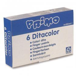 Ditacolor Colori a dita - 250ml - colori assortiti - Primo - box 6 barattoli