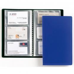 Porta biglietti da visita - 20 buste con 3 tasche ciascuna - 12,5x20,5 cm - blu - Favorit