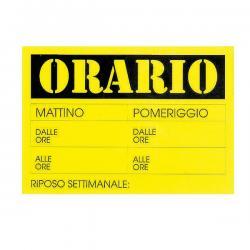 Cartello in cartoncino ORARIO DALLE…ALLE... - 23x32 cm - giallo - CWR