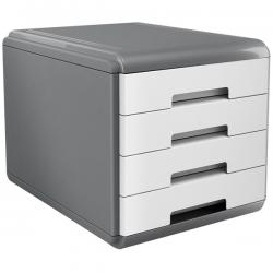 Cassettiera Mydesk - 29,5x38,5x28,2 cm - 4 cassetti da 4,5 cm - grigio/bianco - Arda