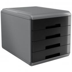 Cassettiera Mydesk - 29,5x38,5x28,2 cm - 4 cassetti da 4,5 cm - grigio/nero - Arda