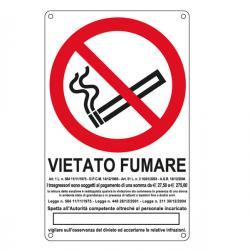 Cartello segnalatore - 27x43 cm - VIETATO FUMARE - alluminio - Cartelli Segnalatori