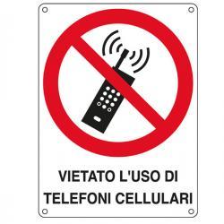 Cartello segnalatore - VIETATO L'USO DI TELEFONI CELLULARI - alluminio - 16.6x23.3 cm