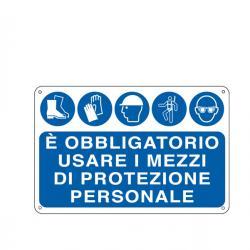 Cartello segnalatore - E' OBBLIGATORIO USARE I MEZZI DI PROTEZIONE INDIVIDUALE - alluminio - 30x20 cm