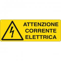 Cartello segnalatore - ATTENZIONE CORRENTE ELETTRICA - alluminio - 35x12.5 cm