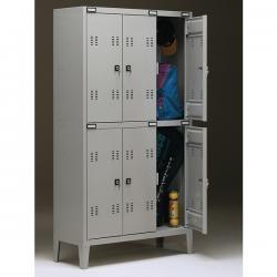 Armadio metallo - spogliatoio - 6 posti - 102x35cm - H180cm - grigio - Tecnical 2