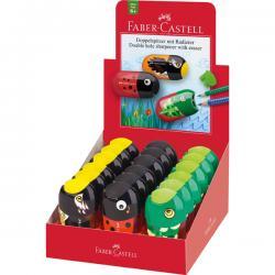 Temperamatite Animals - 1 foro per le matite standard e uno per le matite Jumbo - con serbatoio e gomma assortiti - Faber Caste
