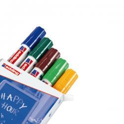 Marcatore Ending 4090 - punta scalpello da 2,00-3,00mm - astuccio 5 colori : blu,verde,marrone,verde chiaro,arancio fluo - Eddi