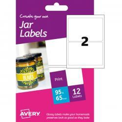 Etichetta adesiva HJJ01 Avery - carta glossy - adatta a stampanti inkjet - 64x95 mm - 2 etichette per foglio - conf. 6 fogli A6