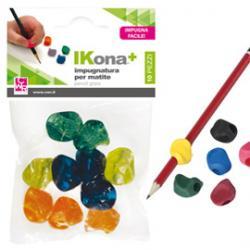 Impugnature per matite - gomma - colori assortiti - IKona+ - conf. 10 pezzi