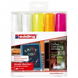 Marcatore Ending 4090 - astuccio 5 colori: biancox2, giallo fluo,arancio fluo,rosa fluo - punta scalpello da 4,00-15,00mm - Eddi