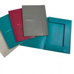 Cartellina 3 lembi Matrix - con elastico - PPL - 24x33 cm - blu ottanio - Favorit