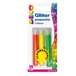 Glitter grana fine - 12ml - colori assortiti fluo - CWR - Conf. 3 tubi