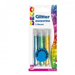 Glitter grana fine - 12ml - colori assortiti iridescenti - CWR - Conf. 3 tubi
