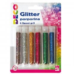Glitter grana fine - 12ml - colori assortiti - CWR - Conf. 5 tubi