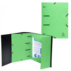 Cartellina 3 lembi forata - con elastico Punchy - cartoncino lustré - A4 - verde anice - Exacompta