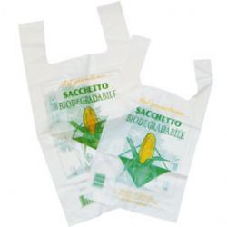 Shoppers Mater-Bi - 18 micron - 22x40 cm - soffietti 6+6 cm - bianco - Green Pack - conf. 500 pezzi