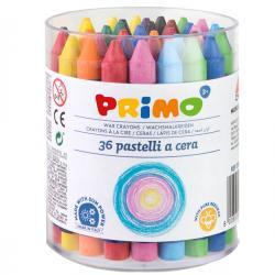 Barattolo 36 pastelli a cera jumbo - 100mm - ø10,5mm - Primo