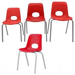 Seduta Teddy - serie School grande - in ppl - altezza 46cm - rosso - Unisit