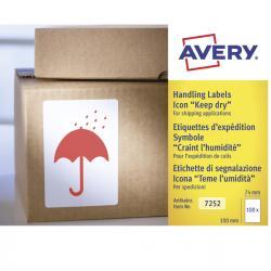 Etichette con simbolo ombrello (TEME UMIDITA') - 74x100 mm - permanente - rosso - Avery - rotolo da 200 etichette