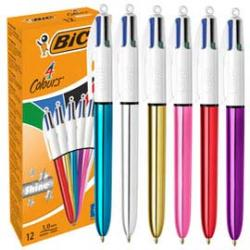 Penna a sfera a scatto Shine - punta 1,0mm - 4 colori - 12 pezzi - Bic