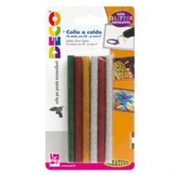 Stick colle glitter - colori assortiti - lungh.10cm-Ø.7mm - 12 pezzi - CWR
