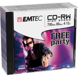 Emtec - CDRW - riscrivibile 80min/700mb, 4/12x, jewel case - conf. 5 pz