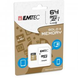 Emtec - Micro SDXC - class 10 gold Plus, con adattatore, 64GB