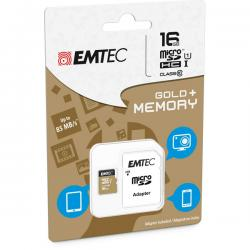 Emtec - Micro SDHC Class 10 Gold + con Adattatore - ECMSDM16GHC10GP - 16GB
