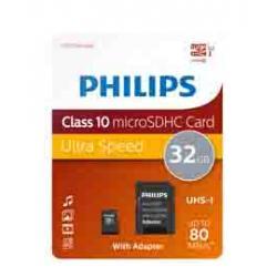Philips - Micro SDHC Card - 32 GB - classe 10 - adattatore incluso