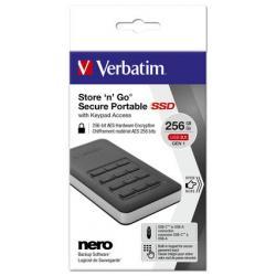 Verbatim - Memoria SSD - store 'n' go portable con tastierino numerico, 256gb, usb 3.1