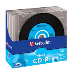 Verbatim - CD-R - AZO data vinyl, slim 1x/52x, 700 mb, colours - Conf. 10 cd