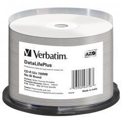 Verbatim - CD-R - datalifeplus spindle 1x/52x 700mb stampabile termica bianca - Conf. da 50 cd