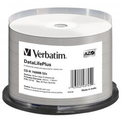 Verbatim - CD-R - datalifeplus spind. 1x/52x 700mb stamp.wide inkjet photo - Conf. da 50 cd